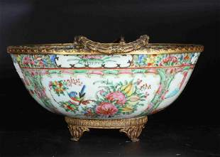 A CHINESE KWON-GLAZED PORCELAIN BOWL WITH BRONZE