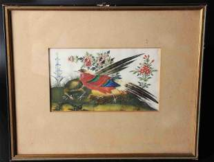 A PAIR OF CHINESE PITH PAINTINGS OF FLOWERS AND BIRDS,
