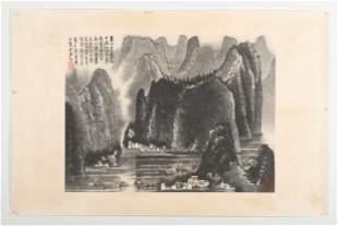 LI KERAN: INK AND COLOR ON PAPER PAINTING 'LANDSCAPE
