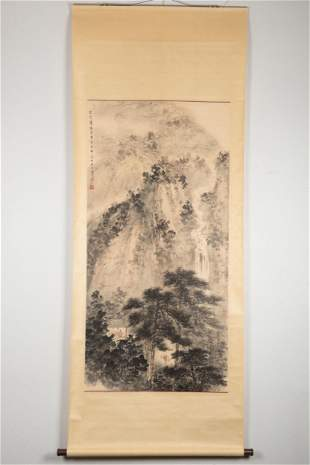 FU BAOSHI: INK AND COLOR ON PAPER PAINTING 'LANDSCAPE