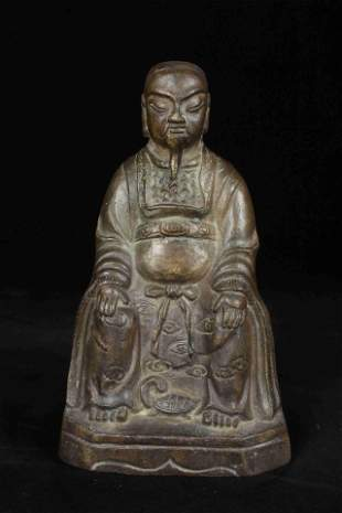A CHINESE BRONZE TAOIST GOD XUANWU STATUE IN THE 16TH