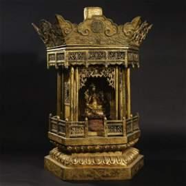 A GILT-BRONZE BUDDHIST HEXAGONAL SHRINE