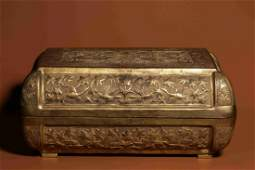GILT BRONZE CAST 'PHOENIX' ROUNDED RECTANGULAR BOX WITH