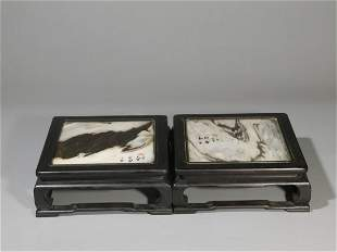 PAIR OF ZITAN WOOD CARVED AND YUN STONE INSET STANDS