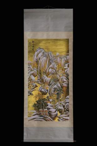 ZHANG DAQIAN: INK AND COLOR ON GILT PAPER PAINTING