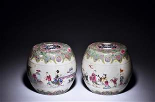 PAIR OF SMALL FAMILLE ROSE SEATS, DUN