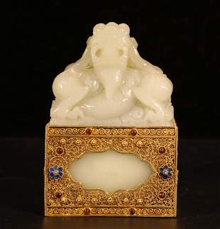WHITE JADE DRAGON STAMP WITH GILT SILVER STAND