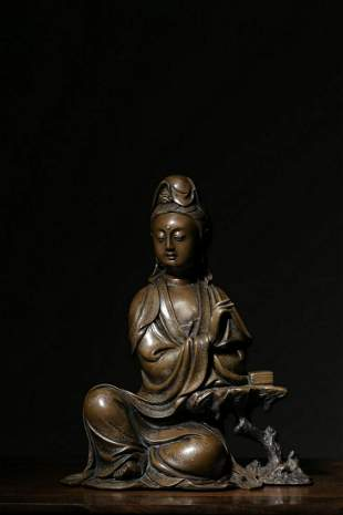 BRONZE CAST SILVER INLAID 'GUANYIN' SEATED FIGURE