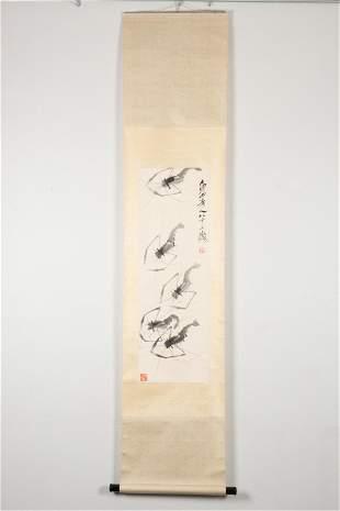 QI BAISHI: INK ON PAPER PAINTING 'SHRIMP'