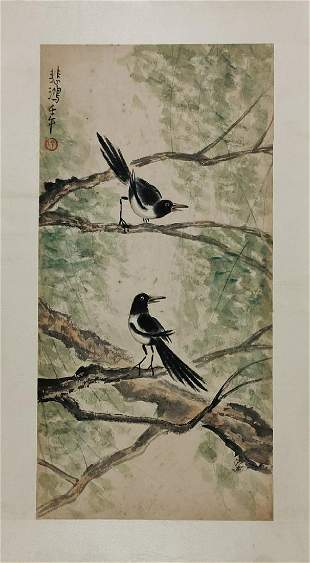 BIRDS AT BRANCHES PAINTING BY XU BEIHONG