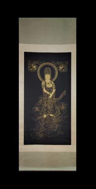 GOLD BUDDHA SCROLL BY ZHANG DAQIAN