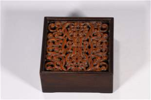 ZITAN WOOD AND HUANGYANG WOOD INSET CARVED 'RUYI'