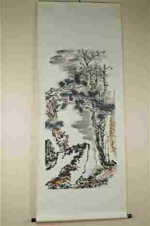 PAN TIANSHOU: INK AND COLOR ON PAPER PAINTING 'PINE