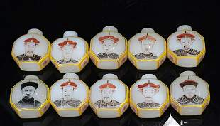 SNUFF BOTTLE OF THE TEN EMPERORS OF QING DYNASTY