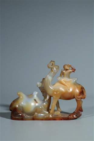 AGATE CARVED 'CAMELS AND RIDER' FIGURAL GROUP