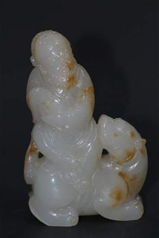 HETIAN JADE CARVED 'RIDER AND ANIMAL' FIGURAL GROUP