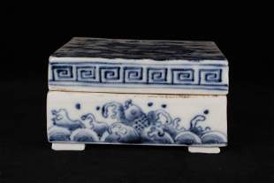 BLUE AND WHITE GLAZED 'DRAGON' SQUARE BOX WITH LID