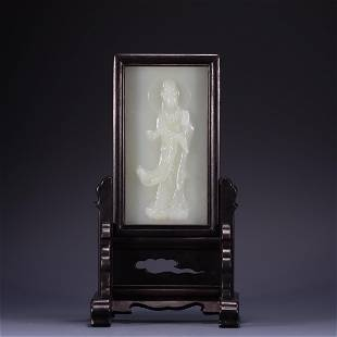 A CHINESE HETIAN JADE TABLE SCREEN CARVED GUANYIN