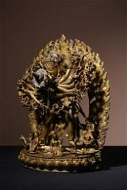 BRONZE GILDED TIBETAN ORNAMENTS OF THE HAPPY BUDDHA OF