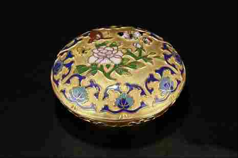 CLOISONNE LACQUER GOLD FLOWER BUTTERFLY PATTERN POWDER
