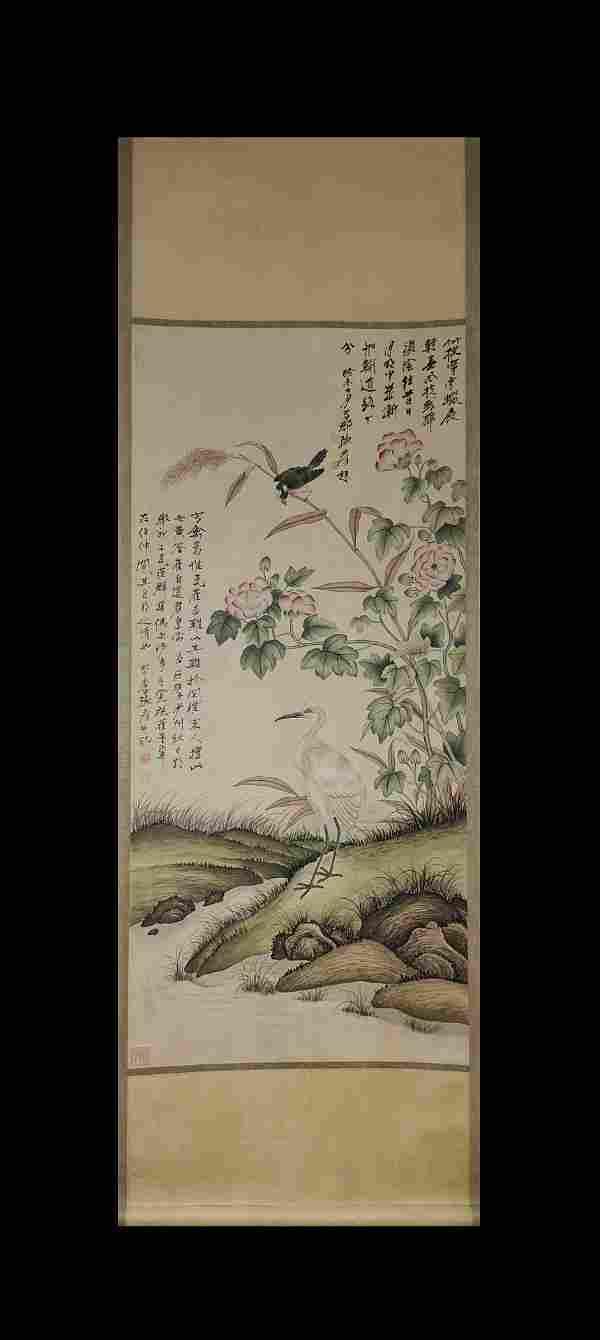 BIRDS FLOWERS SCROLL BY ZHANG DAQIAN