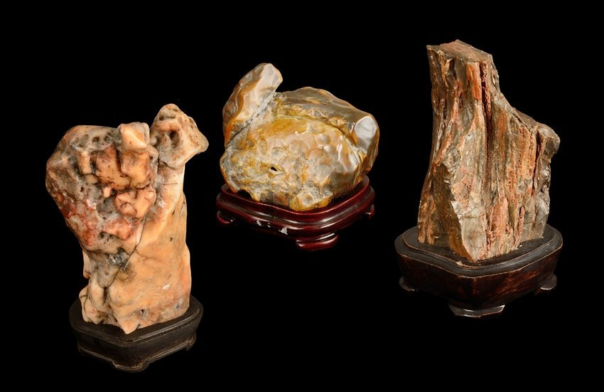A SET OF THREE MINIATURE SCHOLAR'S ROCKS
