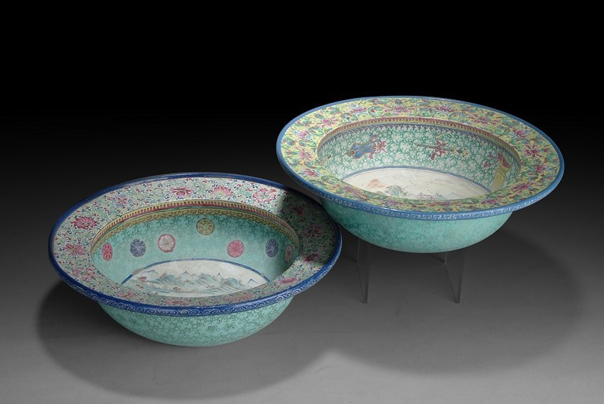 A PAIR OF CHINESE ENAMEL YIXING WASHER BASINS