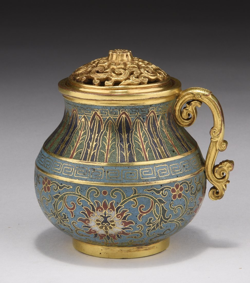 CLOISONNE ENAMELED AND GILT WATERING POT