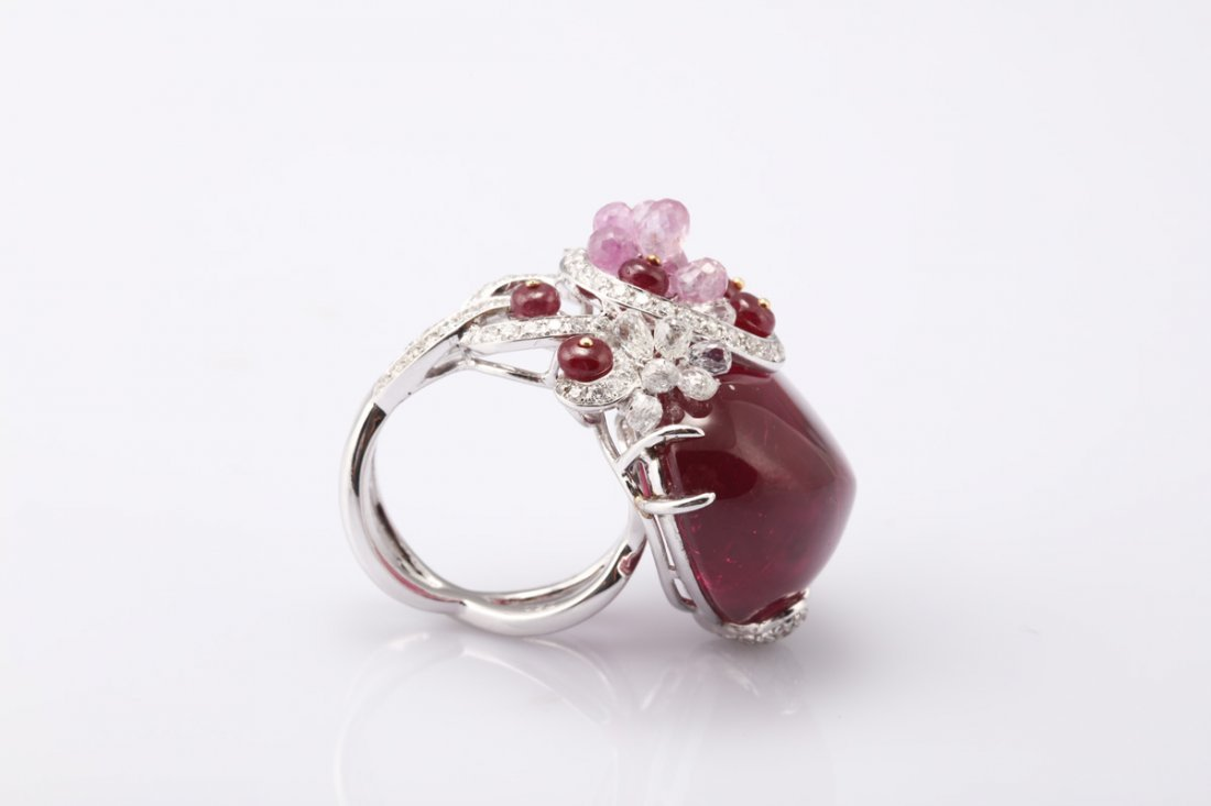 NATURAL RUBELLITE TOURMALINE RING WITH GIA REPORT - 10