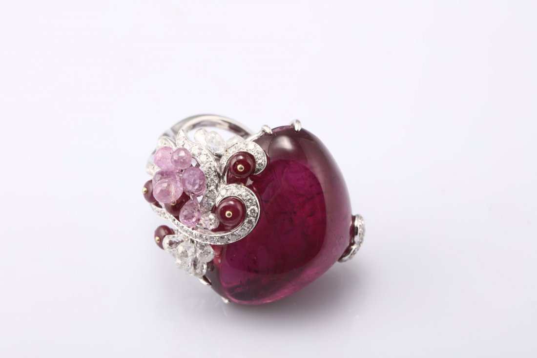 NATURAL RUBELLITE TOURMALINE RING WITH GIA REPORT