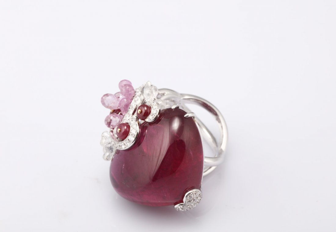 NATURAL RUBELLITE TOURMALINE RING WITH GIA REPORT - 2
