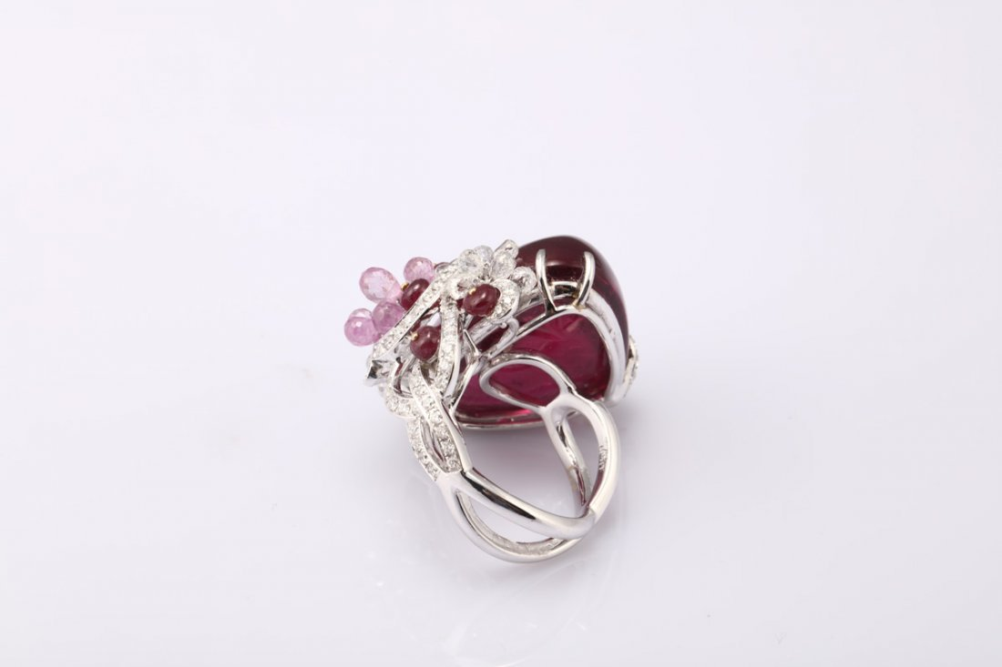 NATURAL RUBELLITE TOURMALINE RING WITH GIA REPORT - 3