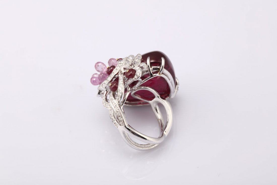 NATURAL RUBELLITE TOURMALINE RING WITH GIA REPORT - 4