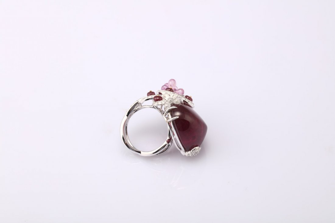 NATURAL RUBELLITE TOURMALINE RING WITH GIA REPORT - 5