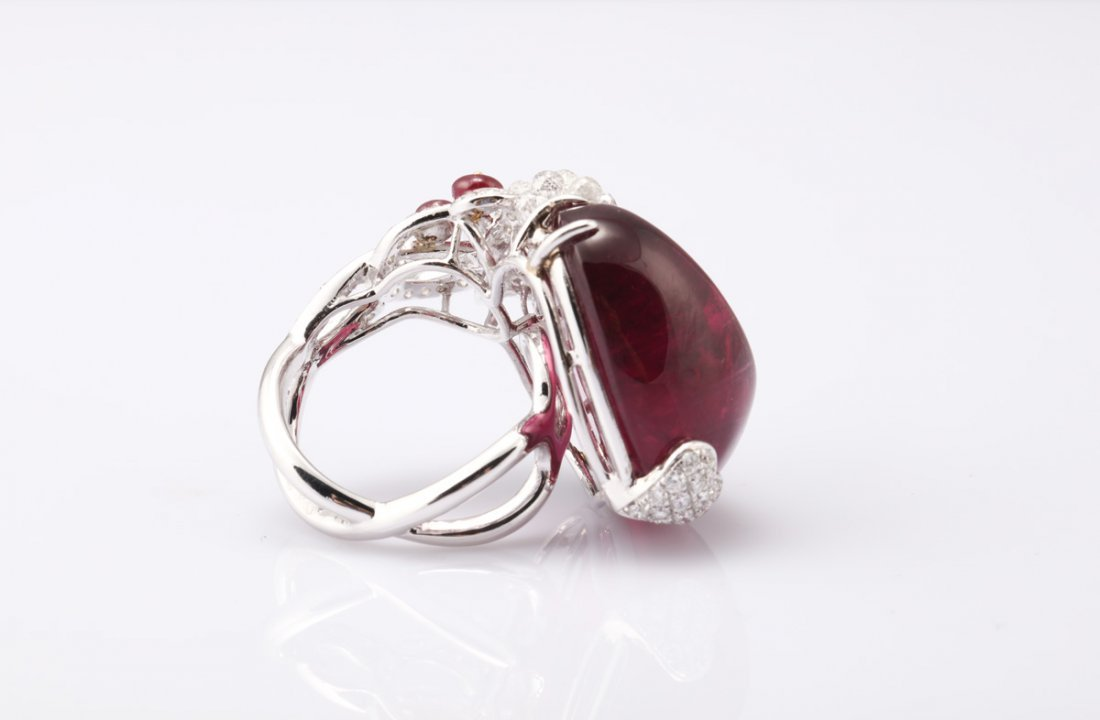 NATURAL RUBELLITE TOURMALINE RING WITH GIA REPORT - 6