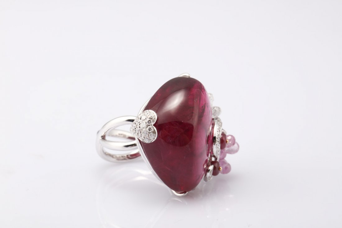 NATURAL RUBELLITE TOURMALINE RING WITH GIA REPORT - 7