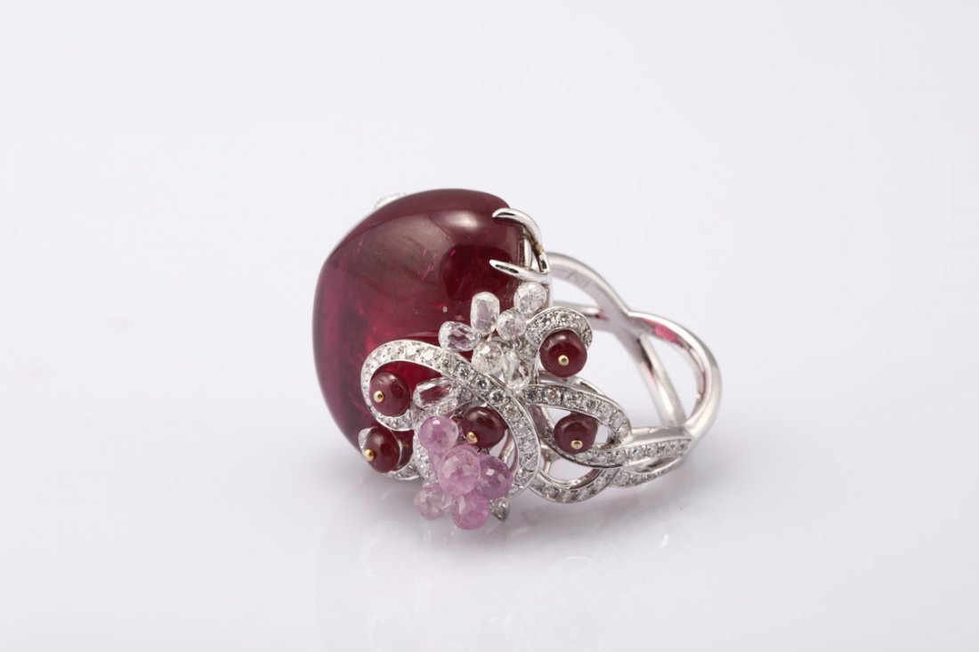 NATURAL RUBELLITE TOURMALINE RING WITH GIA REPORT - 8