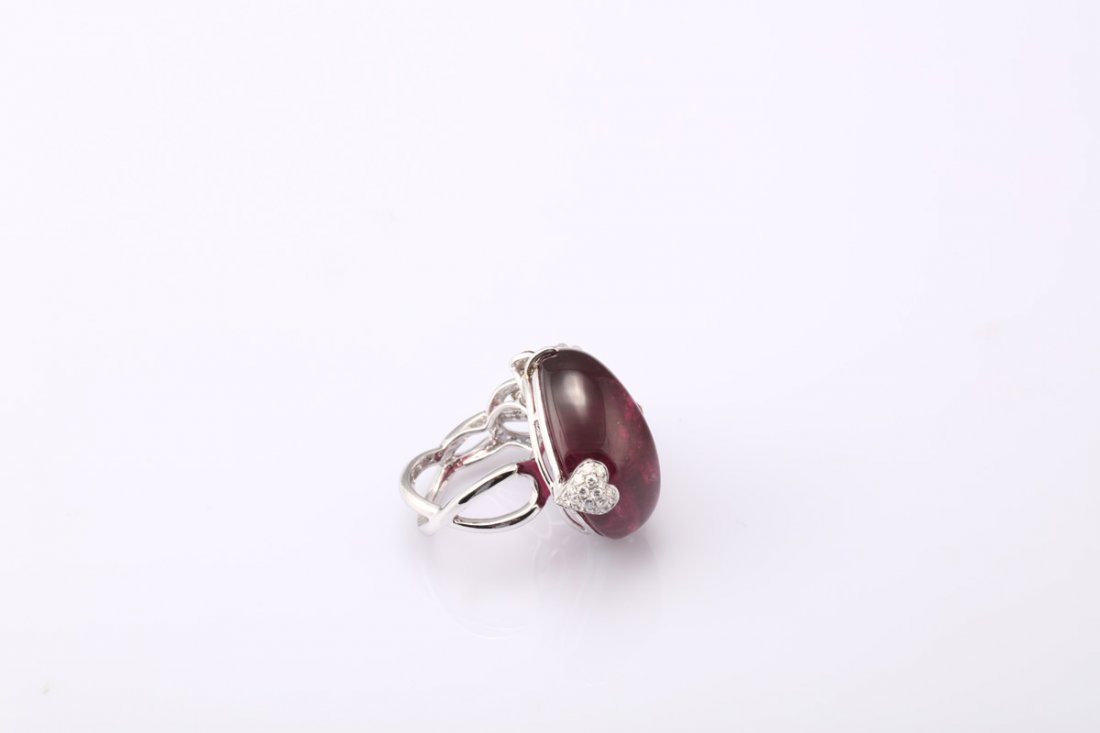 NATURAL RUBELLITE TOURMALINE RING WITH GIA REPORT - 9