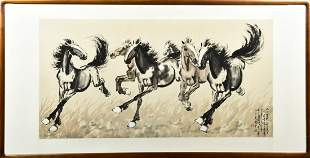 XU BEIHONG: FRAMED INK AND COLOR PAINTING 'HORSES'