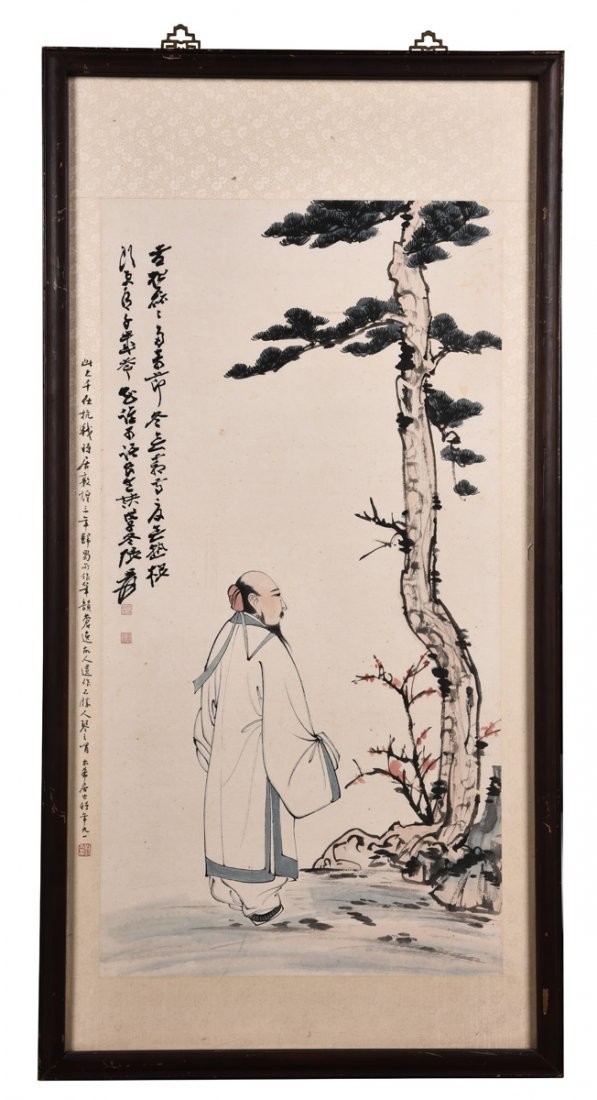 ZHANG DAQIAN: FRAMED INK & COLOR ON PAPER PAINTING