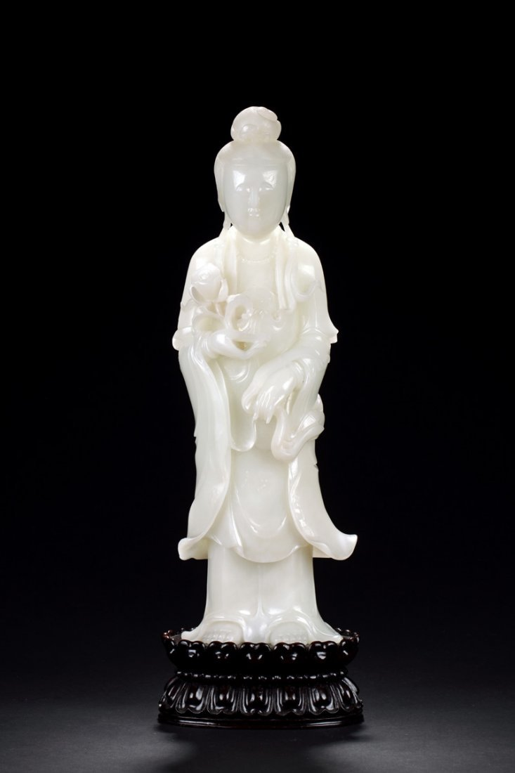 WHITE JADE CARVED GUANYIN FIGURE WITH GIA REPORT