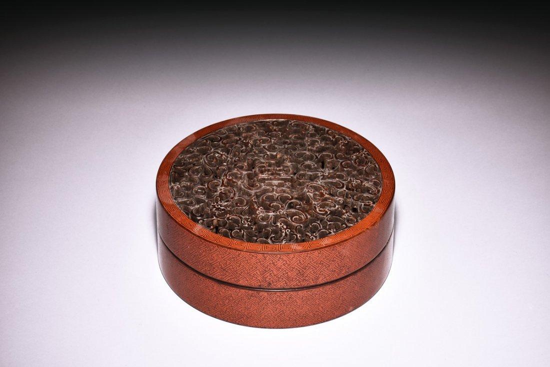 CIRCULAR PIERCE CARVED ZITAN & LACQUERED WOOD BOX