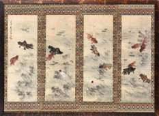 LIU KUILING: FRAMED INK & COLOR ON SILK PAINTING