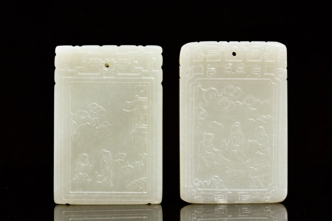 TWO JADE CARVED PLAQUES
