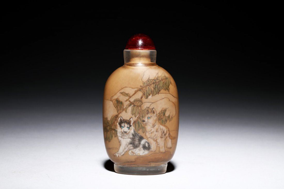 INSIDE PAINTED 'PUPPIES' SNUFF BOTTLE