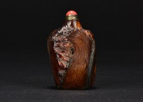 Carved Horn Snuff Bottle
