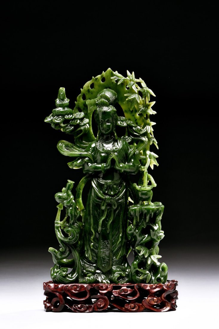 SPINACH JADE CARVED GUANYIN FIGURE