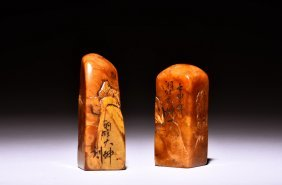 Two Shoushan Soapstone Carved Stamp Seals