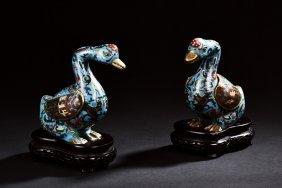 Pair Of Cloisonne Enameled Ducks