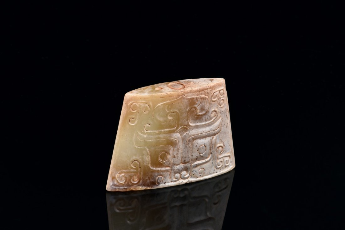 ARCHAIC JADE CARVED SCABBARD CHAPE